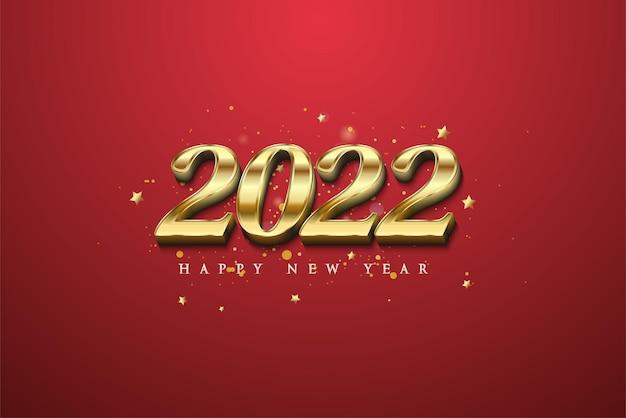 Frohes neues jahr 2022 mit modernen 3d-goldzahlen