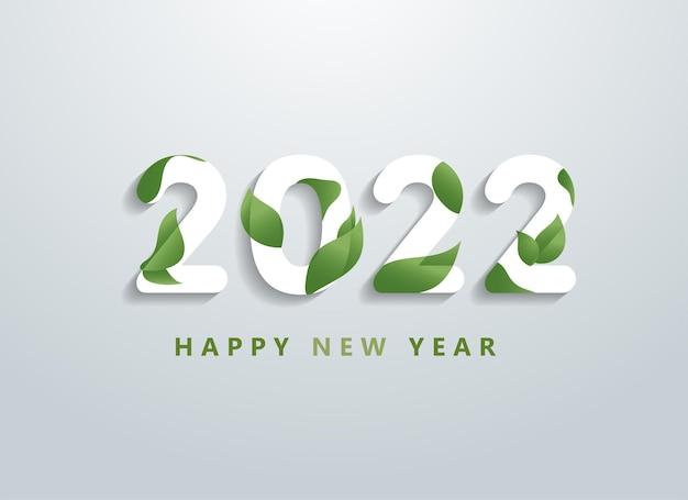 Frohes neues jahr 2022 mit natürlicher grüner blätterfahne. grüße und einladungen, neujahr weihnachtsfreundliche glückwünsche, karten und natürlicher hintergrund. vektor-illustration.