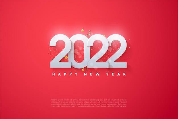 Frohes neues jahr 2022 mit üppigen zahlen aufgetürmt