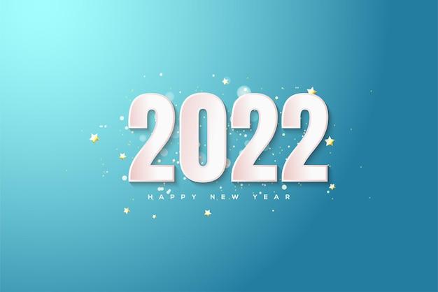 Frohes neues jahr 2022 mit weißen zahlen auf hellblauem hintergrund
