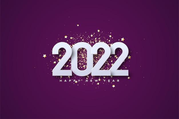 Frohes neues jahr 2022 mit weißen zahlen auf luxuriösem goldglitter