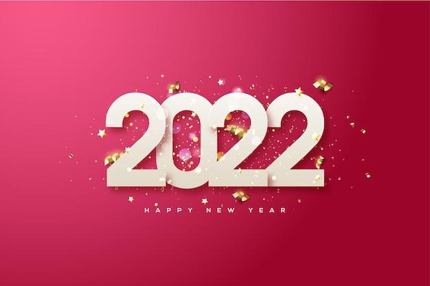 Frohes neues jahr 2022 mit weißen zahlen und goldenen bändern