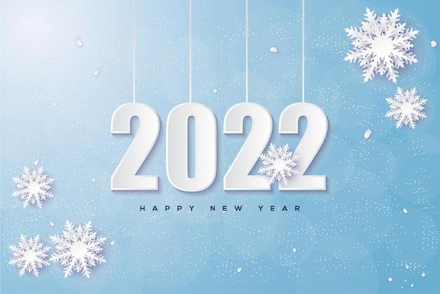 Frohes neues jahr 2022 mit winterlichen zahlen