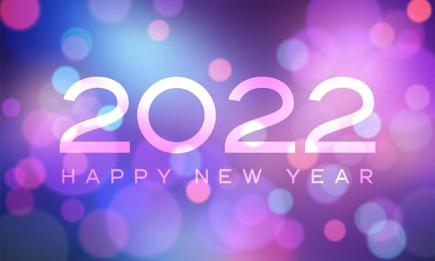 Frohes neues jahr 2022 mit zahlen auf dem bokeh-hintergrund