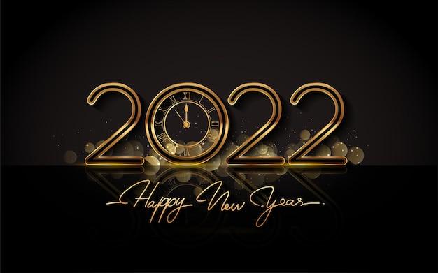 Frohes neues jahr 2022 - neujahr glänzender hintergrund mit goldener uhr und glitzer.