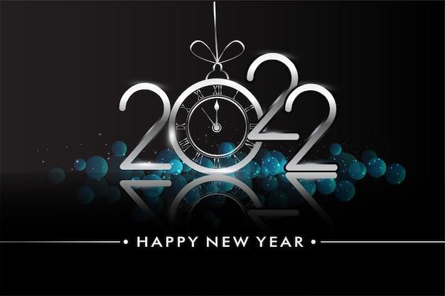 Frohes neues jahr 2022 - neujahr glänzender hintergrund mit uhr und glitzer.