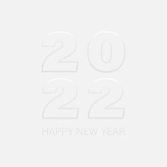 Frohes neues jahr 2022 neumorphismus-zahlen mit schatten isoliert. gruß einladungskarte neumorphes gestaltungselement. vektor-illustration eps 10