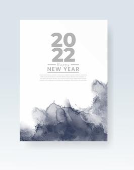 Frohes neues jahr 2022 poster oder kartenvorlage mit aquarell-waschspritzer