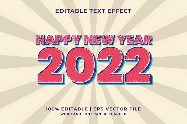 Frohes neues jahr 2022 retro 3d editierbarer texteffekt premium-vektor