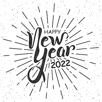 Frohes neues jahr 2022 vintage schriftzug grußkarte vector illustration vorlage