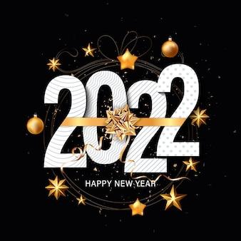 Frohes neues jahr 2022 weihnachtsgrüße mit goldenen metallischen zahlen 2022 und funkelnden glitzermustern