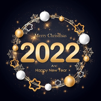 Frohes neues jahr 2022 weihnachtsgrüße von goldenen metallischen zahlen 2022 und funkelnden