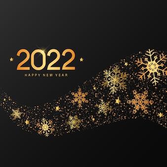 Frohes neues jahr 2022 zitat mit goldenen schneeflocken