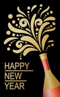 Frohes neues jahr, abstrakter champagnerentwurf.