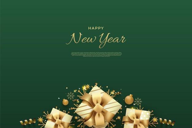Frohes neues jahr auf grünem hintergrund und dekoration mehrerer geschenkboxen