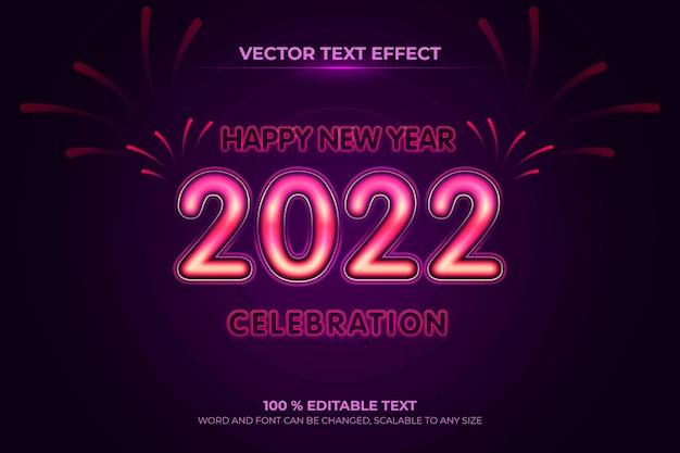 Frohes neues jahr bearbeitbarer texteffekt mit lila hintergrundstil