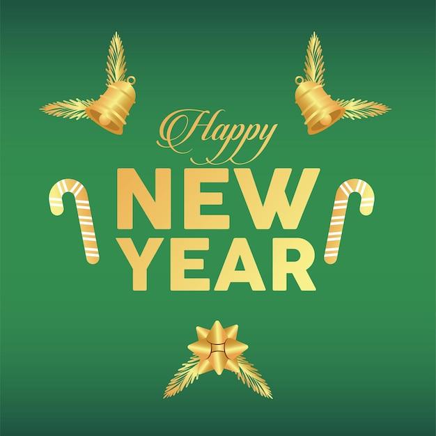 Frohes neues jahr beschriftet goldene karte mit glocken und stöcken im grünen hintergrund