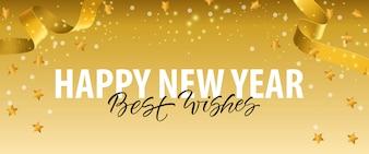 Frohes Neues Jahr, Best Wishes-Schriftzug mit goldenen Bändern