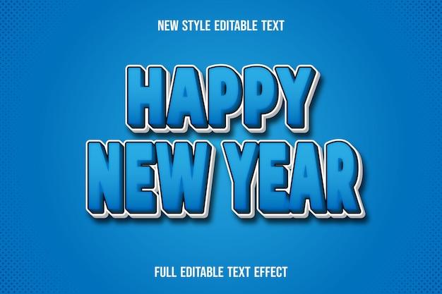 Frohes neues jahr des texteffekts auf blauem und weißem farbverlauf