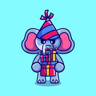 Frohes neues jahr elefant bringt einen haufen geschenke