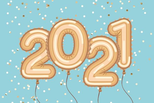 Frohes neues jahr goldballons mit konfetti