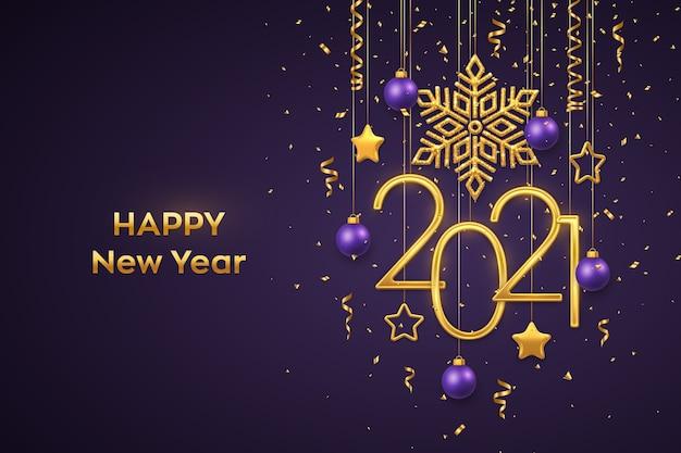 Frohes neues jahr hängende goldene metallic-zahlen mit leuchtenden metallischen schneeflocken-sternenkugeln und konfetti