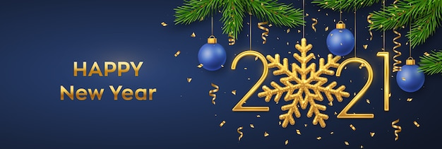 Frohes neues jahr hängende goldene metallische zahlen mit schneeflockenkugeln tannenzweigen und konfetti
