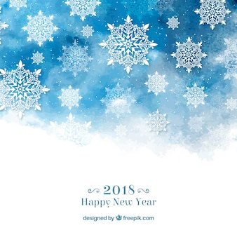 Frohes neues Jahr Hintergrund mit Schneeflocken im blauen Aquarell