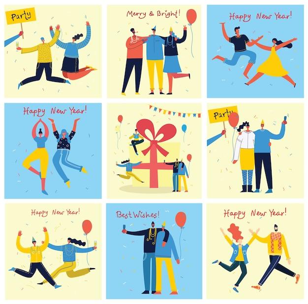 Frohes neues jahr. karikaturillustration der glücklichen gruppe von leuten, die neues jahr feiern und auf die partei springen. das konzept von freundschaft, gesundem lebensstil, erfolg, feiern, party.
