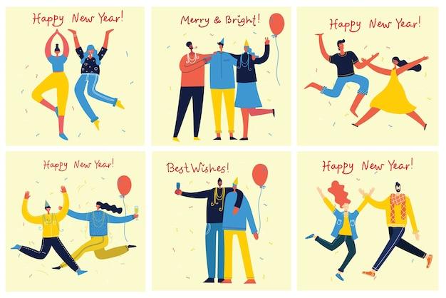 Frohes neues jahr. karikaturillustration der glücklichen gruppe von leuten, die neues jahr feiern und auf die partei springen.