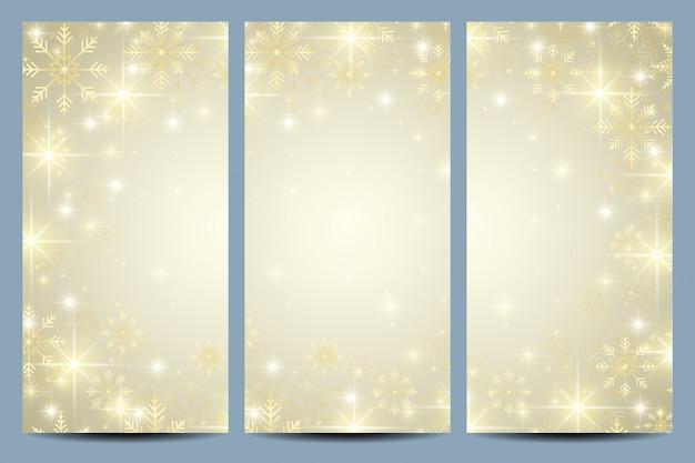 Frohes neues jahr karte mit goldenen schneeflocken.
