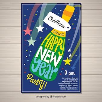 Frohes neues jahr mit einer flasche champagner