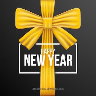 Frohes neues jahr mit goldenen geschenkbogen