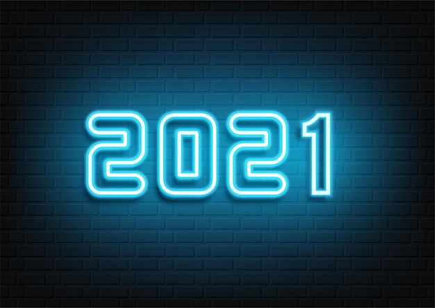 Frohes neues jahr neon design. 2021 neontext. neon 2021 neujahrszeichen. vektor-illustration.