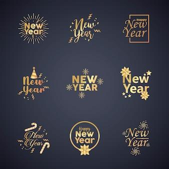 Frohes neues jahr neun goldene schriftzüge illustration