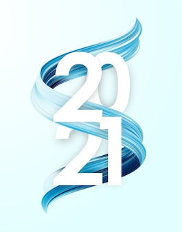 Frohes neues jahr. nummer 2021 mit blauer malstrichform. trendiges design