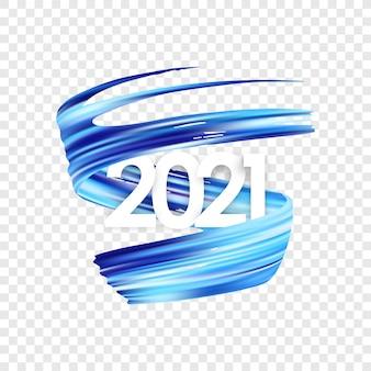 Frohes neues jahr. nummer 2021 mit verdrehter blauer farbe.