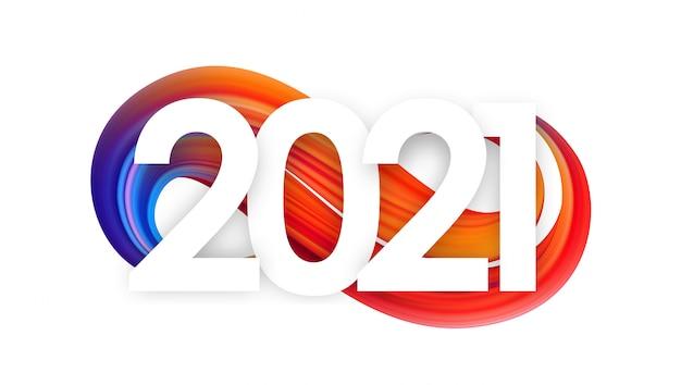 Frohes neues jahr. nummer von 2021 auf bunter abstrakter verdrehter malstrichform.