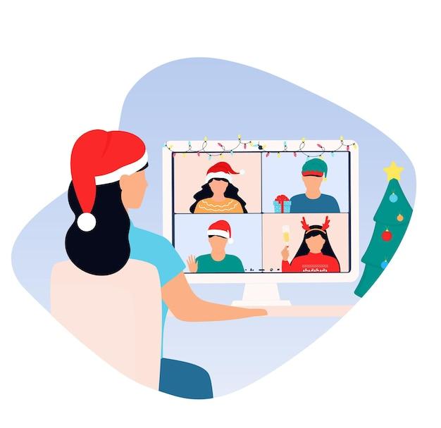 Frohes neues jahr online-party frau mit weihnachtsmütze grüßt freunde bei zoom-videoanruf