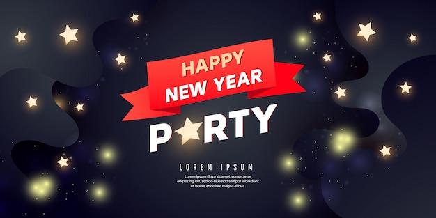 Frohes neues jahr party banner. feiertagshintergrund mit sternen und goldenen konfettis