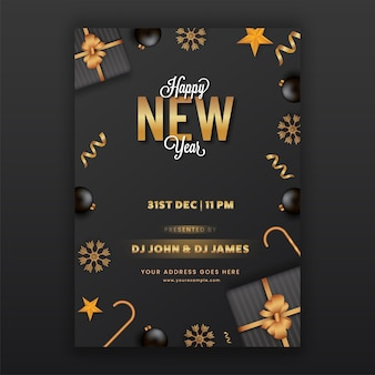 Frohes neues jahr party flyer oder template design in schwarzer und goldener farbe
