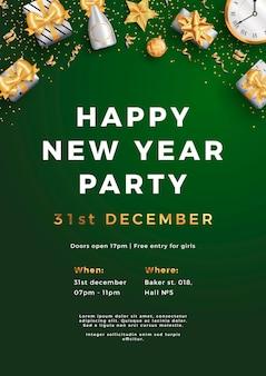 Frohes neues jahr party layout poster poster oder flyer vorlage.