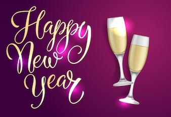 Frohes neues Jahr Postkarte Design. Zwei Champagnerflöten