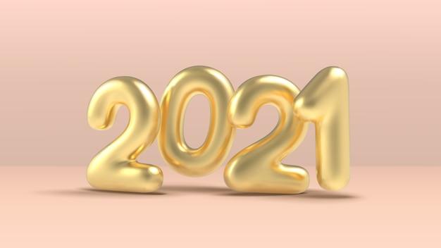 Frohes neues jahr, realistischer goldener inschriftenballon auf rosa hintergrund. goldenes metallisches textneujahr für fahnenentwurf.