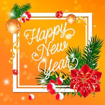 Frohes Neues Jahr Schriftzug mit Dekorationen