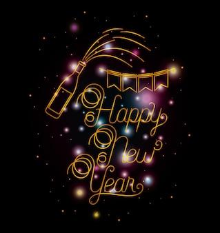 Frohes neues Jahr-Schriftzug mit Lichtern und Symbolen