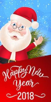 Frohes neues jahr-schriftzug mit santa claus