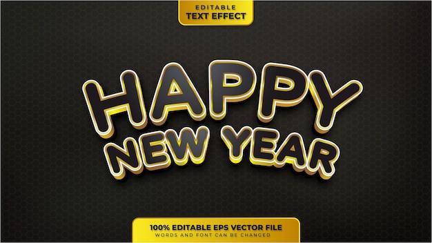 Frohes neues jahr schwarzgold 3d bearbeitbarer texteffekt