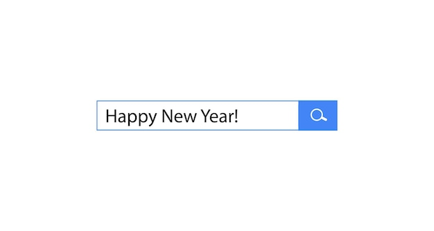 Frohes neues jahr-suchabfrage in der suchleiste für browser-creative-design für feiern und saison
