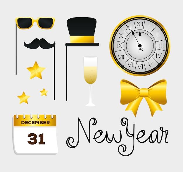 Frohes neues jahr symbol set design, willkommen feiern und grüßen